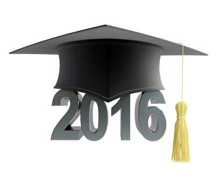 caps: 2016 text with graduation hat