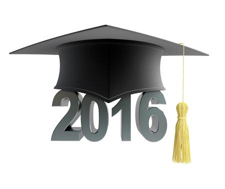 2016 texto con el sombrero de la graduación