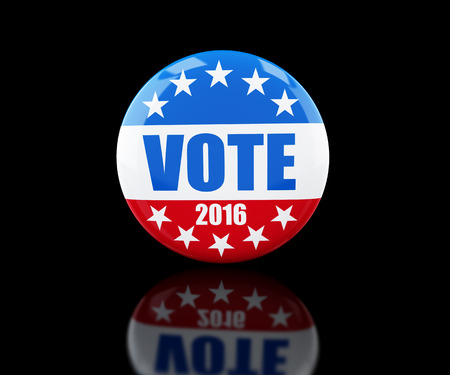 suffrage: vote election badge button for 2016 3d Illustrations on black background Stock Photo