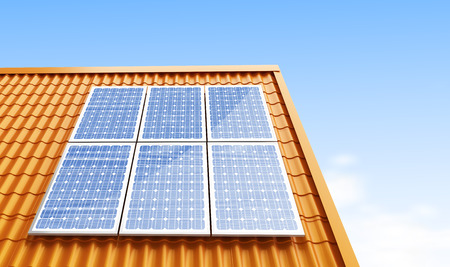 roofs: roof solar panels 3d Illustrations Stock Photo