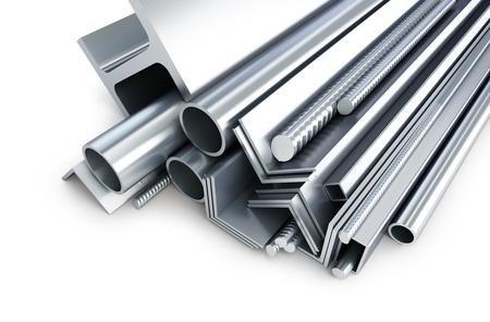 achtergrond metalen buizen, hoeken, soorten 3D-illustraties op een witte achtergrond