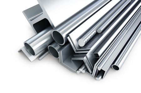 background metallic pipes, corners, types 3d Illustrations on a white background Stock Photo