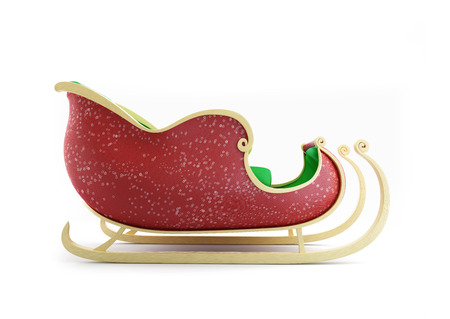 Santa Sleigh 3d Illustrations on a white background