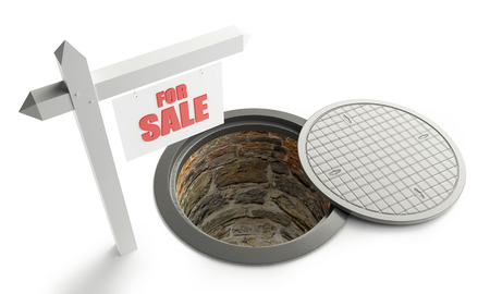 housing problems: for sale street manhole open 3d Illustrations on a white background