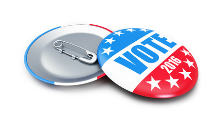 vote: vote USA 2016 badge 3d Illustrations on a white background