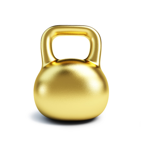 Weights: Dumbbell Weights Golden Isolated on white background Stock Photo