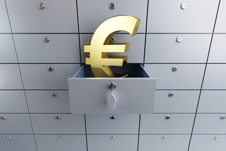 deposit: euro sign opened empty bank deposit cell 3d Illustrations Stock Photo