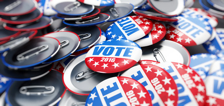politics: vote election badge button for 2016 background Stock Photo