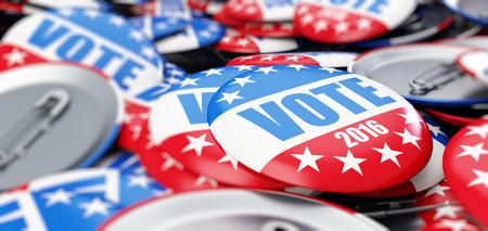 Abstimmung Wahl Abzeichenknopf für das Jahr 2016 Hintergrund Standard-Bild - 53801539