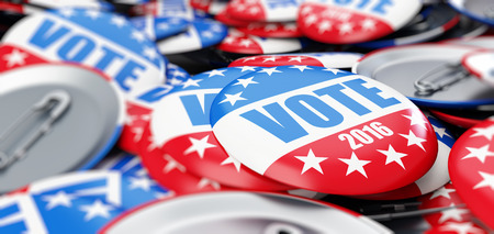 vote election badge button for 2016 background Stock Photo