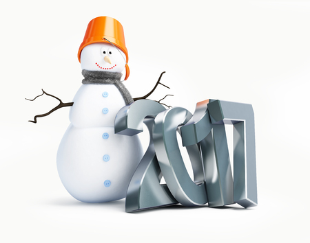 frosty: snowmen happy new year 2017. 3d Illustration on a white background Stock Photo