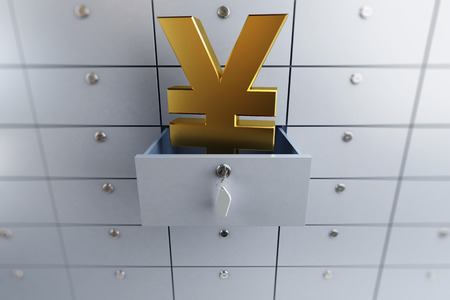 yen sign: yen sign opened empty bank deposit cell 3d Illustrations on a white background