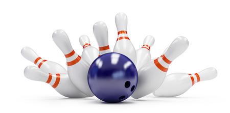 bowling strike: bowling strike on a white background