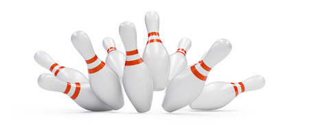 on strike: bowling strike 3D rendering, on a white background