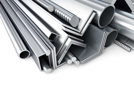 heavy joist: metal pipes, angles, channels, squares. 3D rendering, on a white background Stock Photo