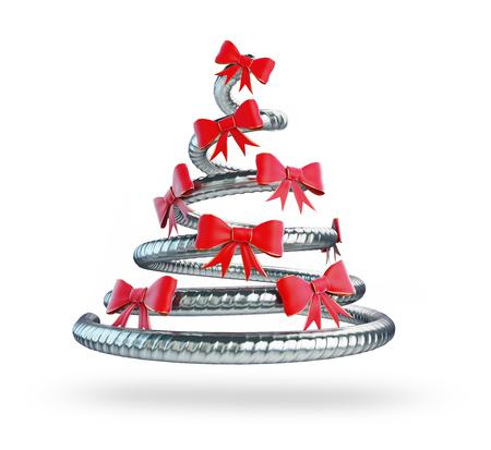 firmeza: de metal de Navidad árbol de representación 3D, ilustración 3D
