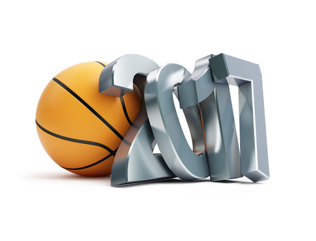 3d ball: basketball ball 2017 3D illustration on a white background Stock Photo