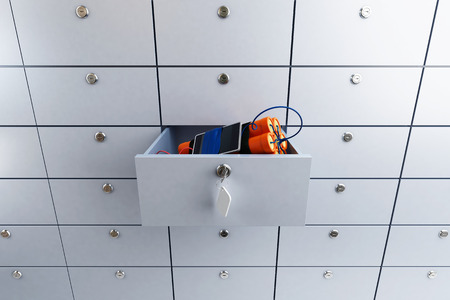 safety deposit box: safety deposit box in a bank with dynamite 3D illustration