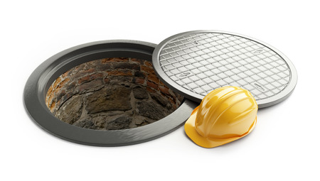sewage system: 3d rendering, Manhole in-service. construction helmet isolated on white background. 3D illustration