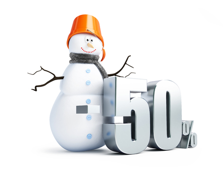 sale off: snowman, a discount of 50 per cent 3d Illustrations on a white background Stock Photo