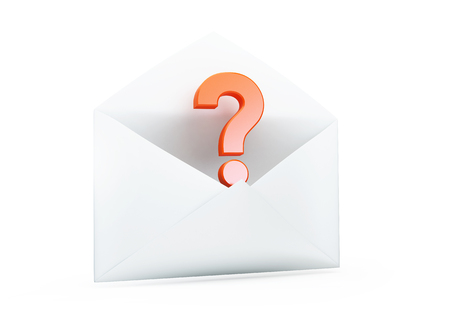 questionable: open letter with a question mark 3D illustrationon a white background