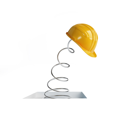 springy: jumping spring hard hat 3d Illustrations on a white background