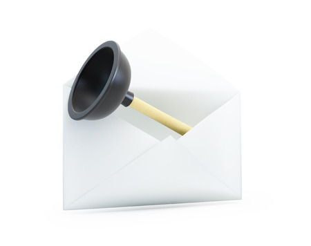 unblock: open letter with a plunger 3D illustrationon a white background