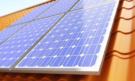 panels: Solar panels on the roof. 3d Illustrations