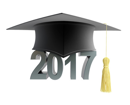 graduation hat. 3d Illustrations Stock Photo