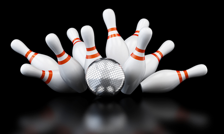 mirrorball: bowling strike disco ball 3D illustration