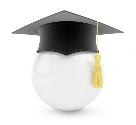 final college: graduation cap white ball on a white background Stock Photo