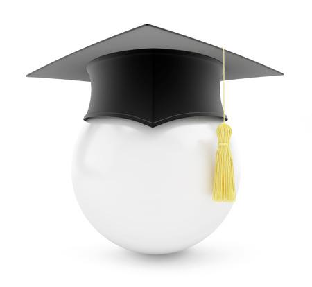 graduation cap white ball on a white background Stock Photo