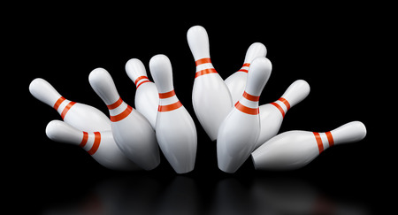 bowling strike on black background. 3d Illustrations Stock Photo