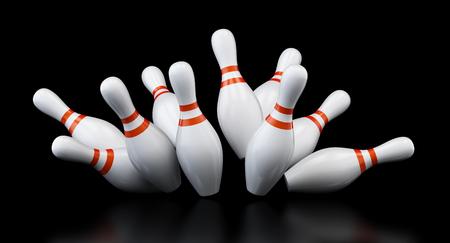 bowling strike on black background. 3d Illustrations Stock Photo