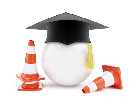 interim: Car driving schools, traffic cones, road construction on a white background. 3d Illustrations