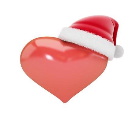 hat santa: Heart sign in Santa hats 3d Illustrations