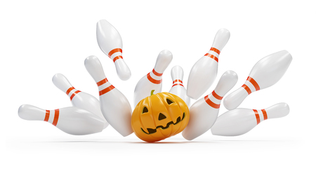 bowling strike: bowling strike halloween. 3D illustration