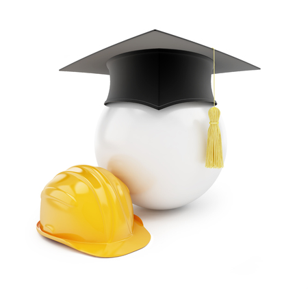 valedictorian: builders school on a white background 3d Illustrations