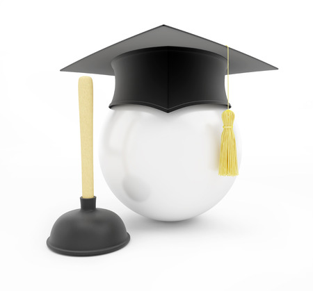 examiert: plumbers school graduation cap on white background. 3d Illustrations