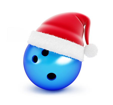 spare: Bowling Ball santa hat on white background. 3d Illustrations
