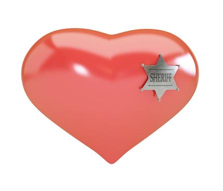 sheriffs: Heart sign sheriffs badge on white background. 3d Illustrations