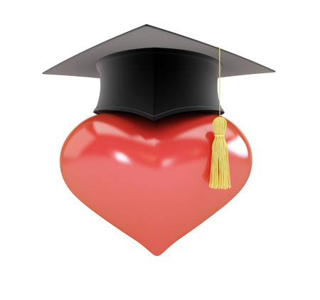 final college: Heart sign graduation hat 3d Illustrations