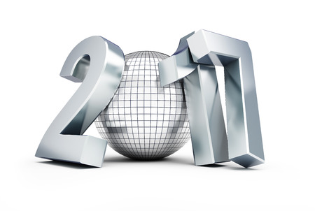 disco: New Year 2017 Disco Ball on white background. 3d Illustrations Stock Photo