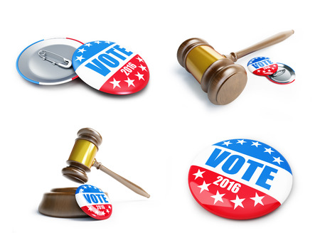 voted: vote usa election badge button for 2016 background.. 3d Illustrations on a white background Stock Photo