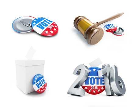 ruling: law gavel vote election badge button for 2016 . 3d Illustrations on a white background