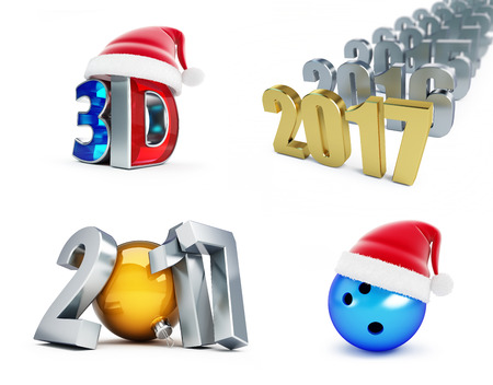 happy newyear: set of happy new year 2017, 3d movie, Bowling Ball, 3d Illustrations on a white background