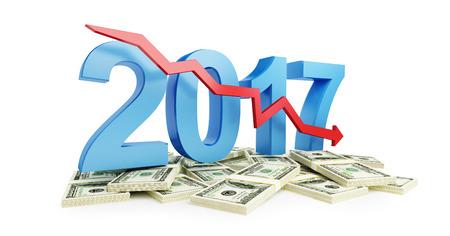 economic recession: economic recession in 2017 on a white background 3d Illustrations