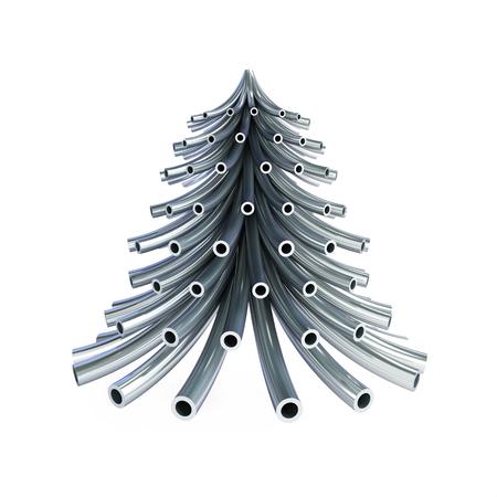 Tuyau métallique de sapin de Noël sur fond blanc Illustrations 3D