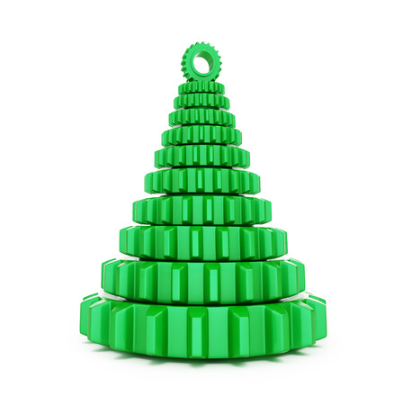 turn of the year: fir tree from machine gear on a white background 3d Illustrations