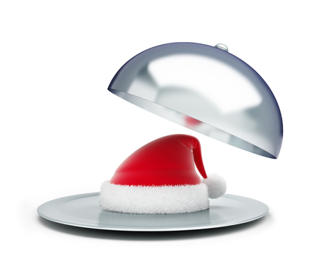 food tray: open tray santa hat on a white background 3d Illustrations